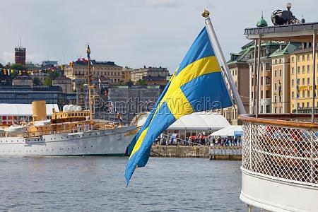 sweden stockholm swedish flag on
