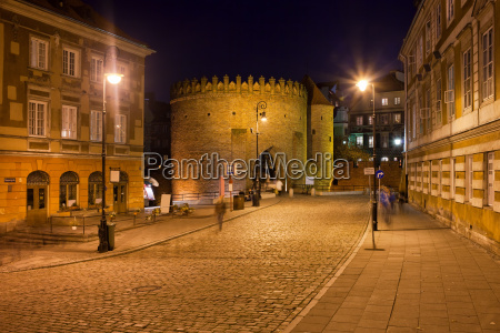 old warsaw at night in poland
