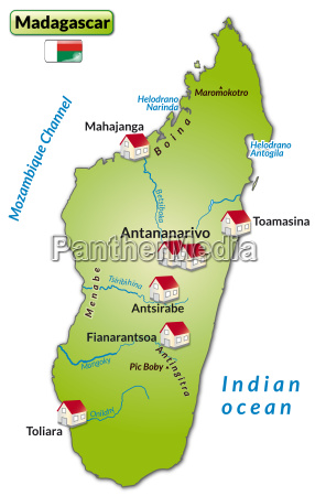 map of madagascar as infographic in