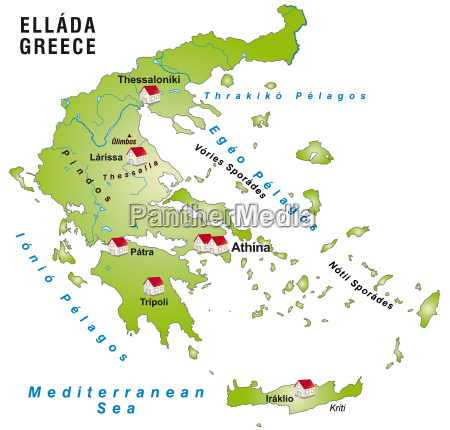 map of greece as infographic in