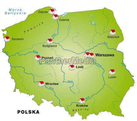map of poland as infographic in
