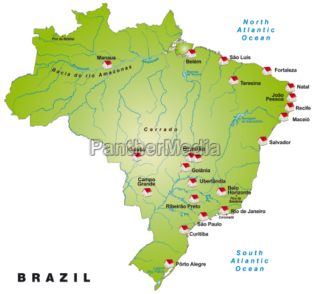 map of brazil as infographic in