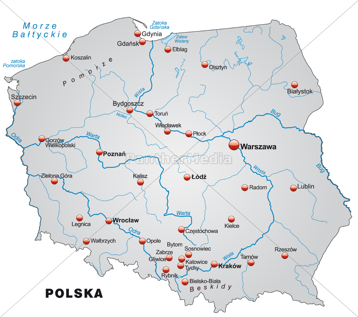 Map Of Poland As Outline Map In Gray Royalty Free Image