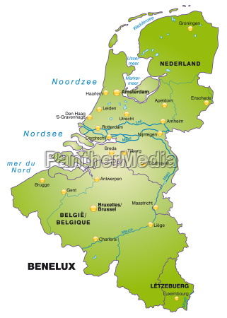 map of benelux countries as an