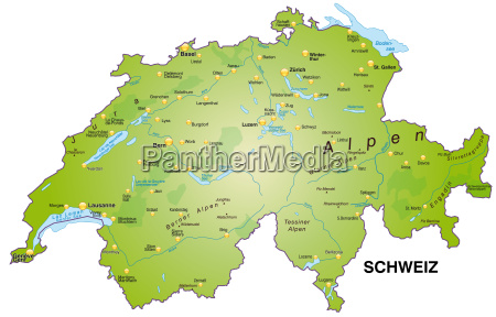 map of switzerland as an overview