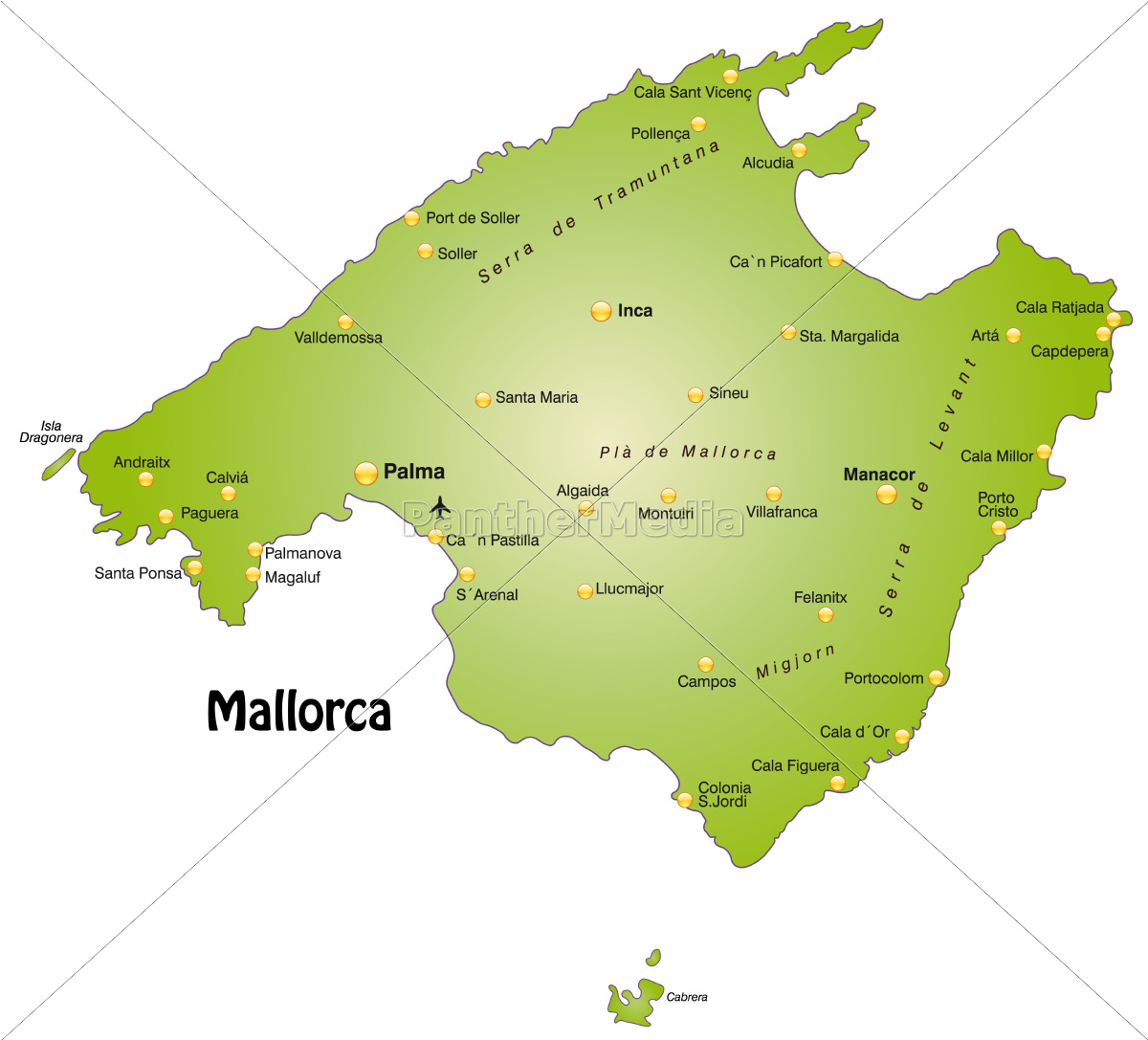 Map Of Mallorca As An Overview Map In Green Royalty Free Photo