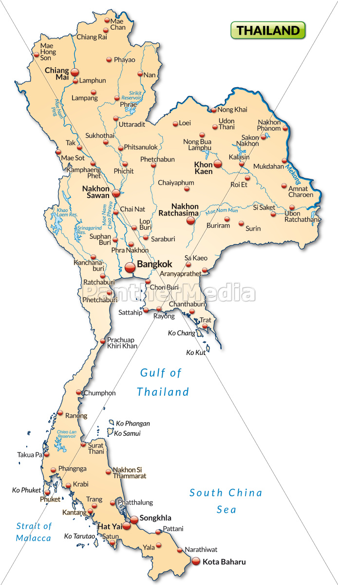 Map Of Thailand As An Overview Map In Pastel Orange Stock Image