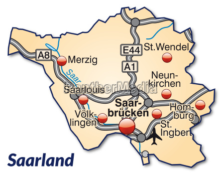 map of saarland with transport network