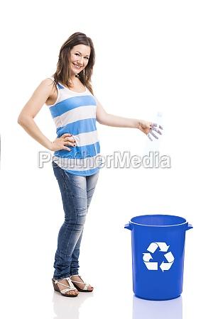 beautiful young recycling