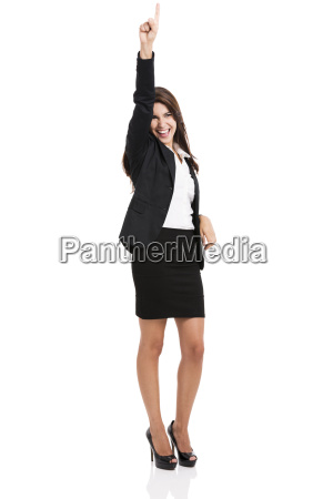 successful business woman with hand on
