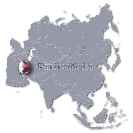 asia map with qatar