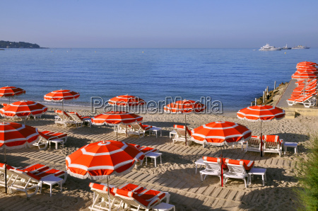 sunshades on the beach in france