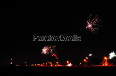 colorful fireworks in village