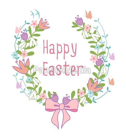 happy easter card floral laurel wreath