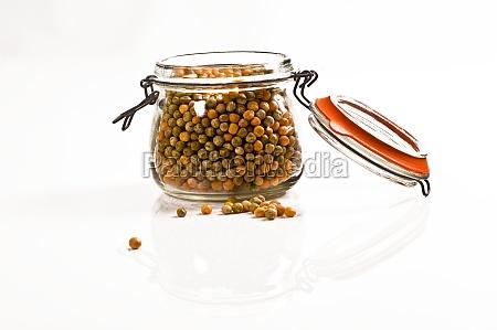 mason jar with peas