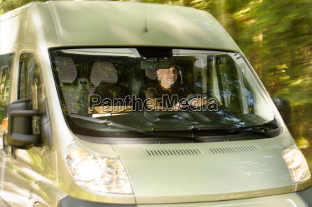 postal delivery courier man drive cargo