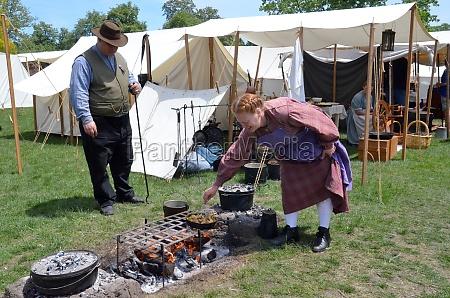 civil war era reenactor cooking