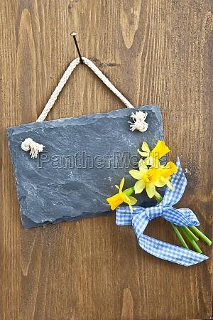 small slate board and fresh easter