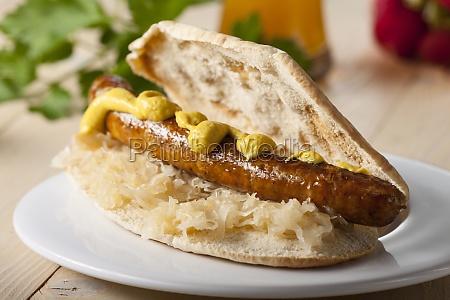 bavarian sandwich with sauerkraut and bratwurst