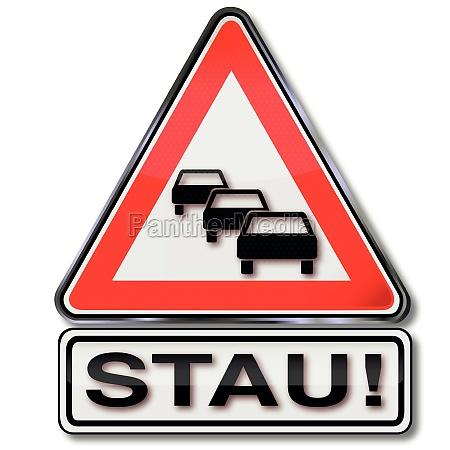 road sign warning traffic jams and