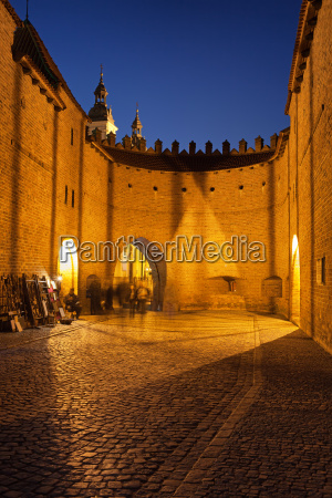 barbican fortification at night in warsaw