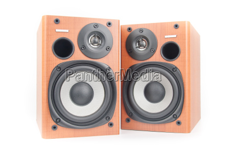 wooden sound speakers isolated on white