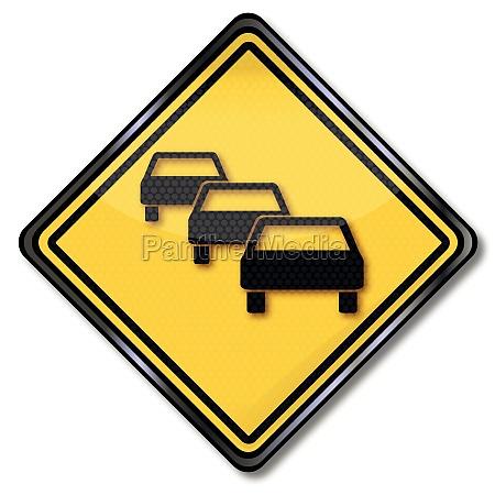 road sign warning jam