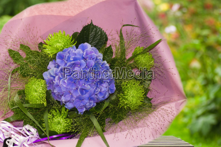 blue and green bouquet of flowers