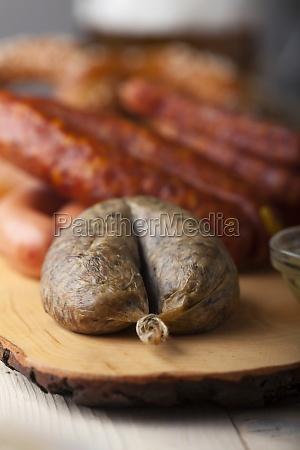 bavarian sausage on wood