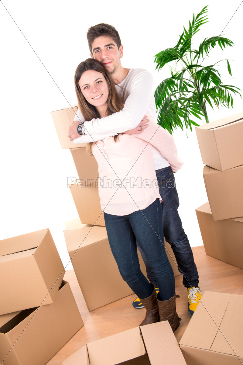 happy, couple, with, boxes - 11080786