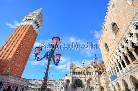 traditional lamppost among famous campanile st