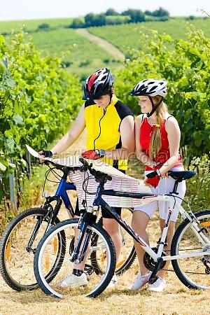 bikers in vineyard czech republic