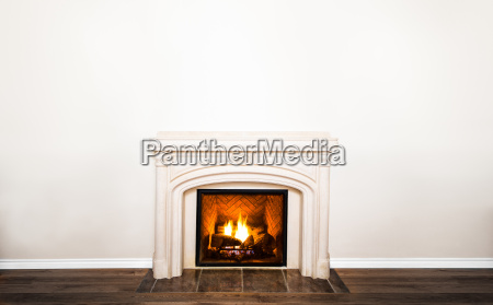 luxurious white marble fireplace and empty