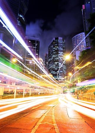 hong kong traffic trail at night
