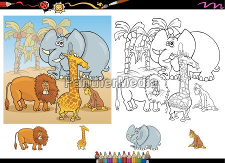african animals coloring page set