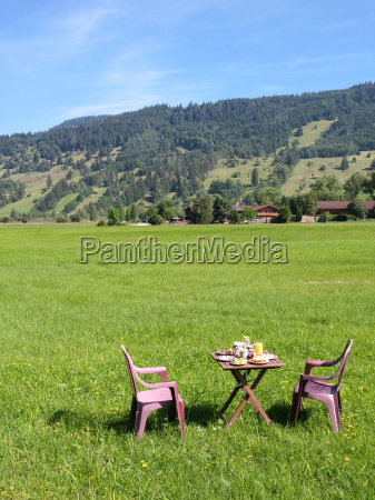 breakfast, table, in, front, of, aufacker, ammergau - 11112982