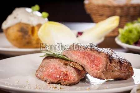 medium roasted beef steak fillet with