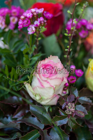 colorful mixed flowers bouquet with various