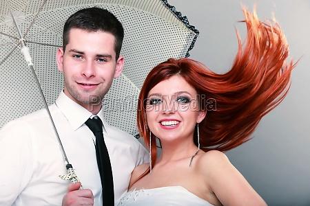 happy married couple bride groom on