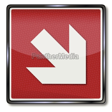 fire safety signs right arrow below