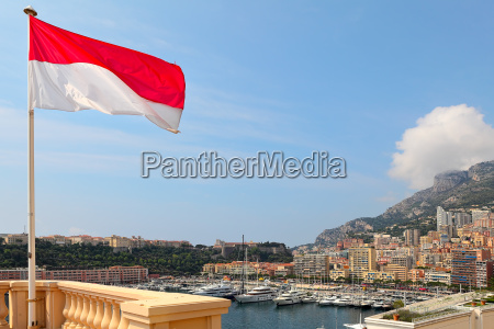 national flag modern residential buildings and