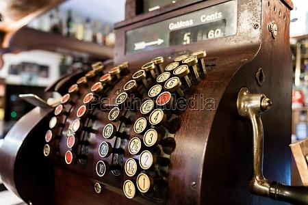 old time cash register in a