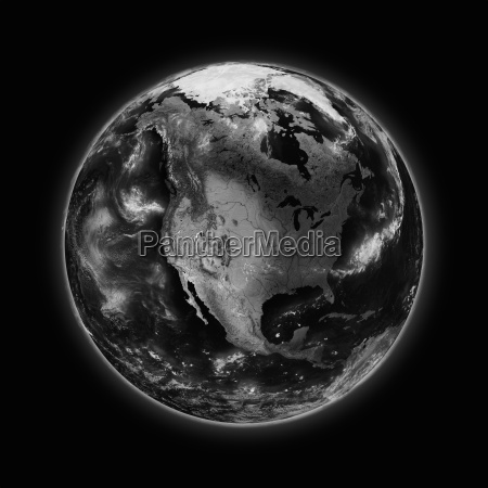 north america on dark planet earth