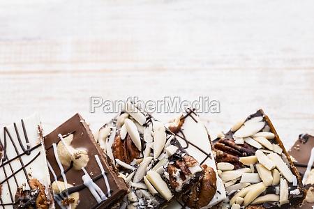 chocolate bark on wood background