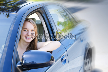 teenage girl learning to drive