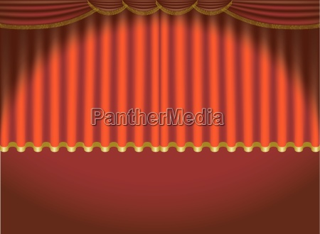 red lighted curtains