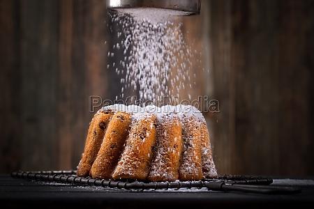 fresh cake with icing sugar