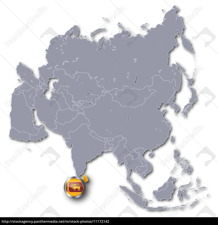 Asia Map With Sri Lanka Stock Image 11172142 Panthermedia