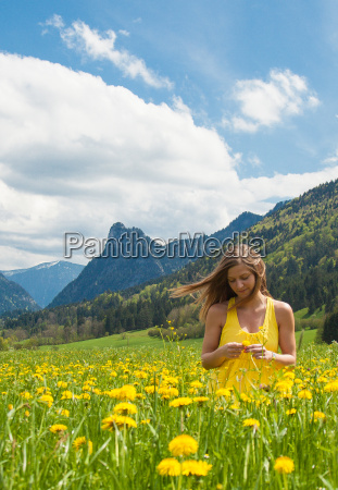 woman girl flowers flower child meadow