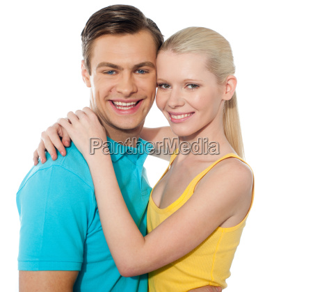 beauitful attractive couple hugging